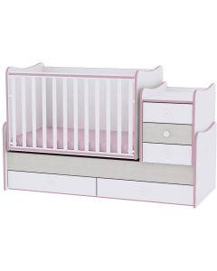 Lorelli Dječji modularni krevetić 4u1 Maxi Plus - White / Pink crossline