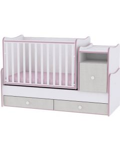 Lorelli Dječji modularni krevetić 4u1 Trend Plus - White / Pink Crossline