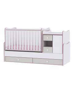 Lorelli Dječji modularni krevetić 4u1  MiniMax - White/ Pink Crossline